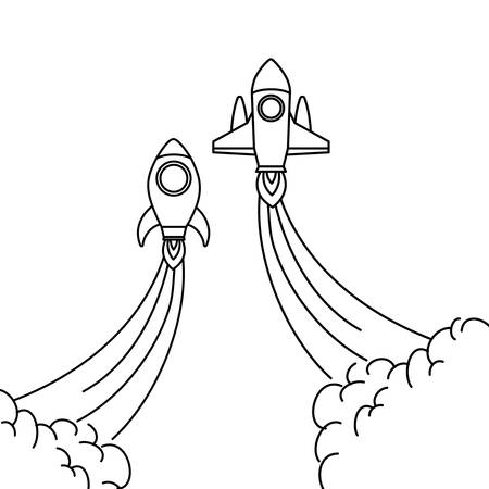 rockets taking off in white background vector illustration design