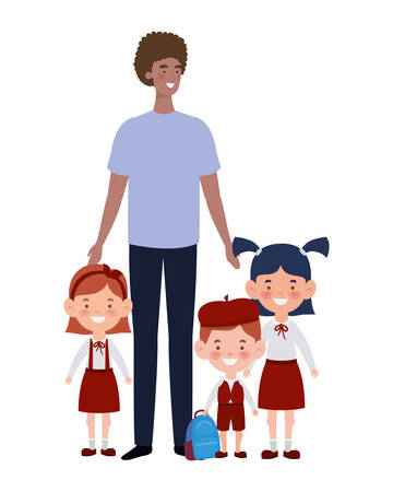 man with children of back to school vector illustration design