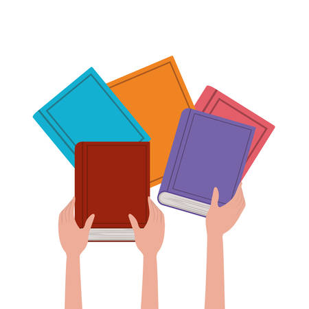 Books and hands design, Education literature read library school university and learning theme Vector illustration Vettoriali