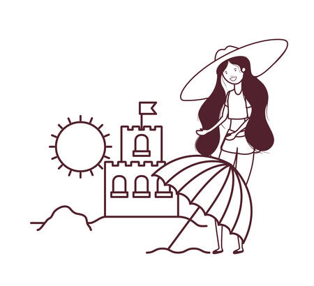 woman with swimsuit on the beach and sand castle vector illustration design