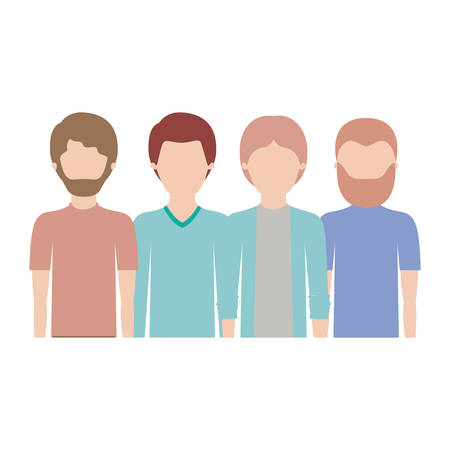 faceless men in half body with casual clothes with short hair and some with beard in colorful silhouette vector illustration