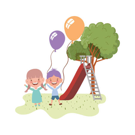 couple baby in park of play with slide vector illustration design