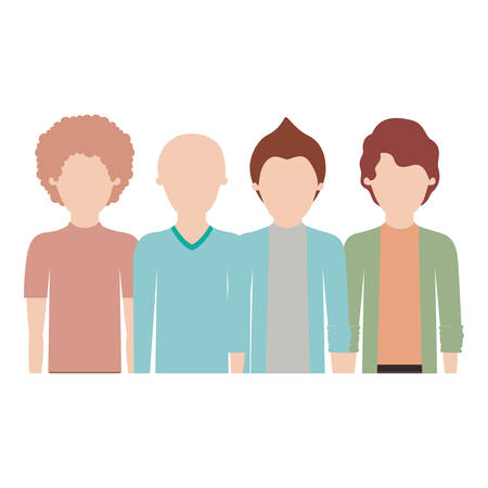 faceless men in half body with casual clothes with short hair and hairstyles different in colorful silhouette vector illustration