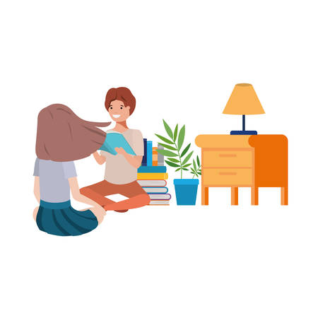 couple sitting with stack of books vector illustration design Illustration