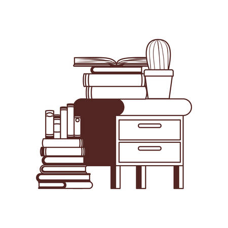 wooden drawer with stack of books in white background vector illustration design 写真素材 - 127231376