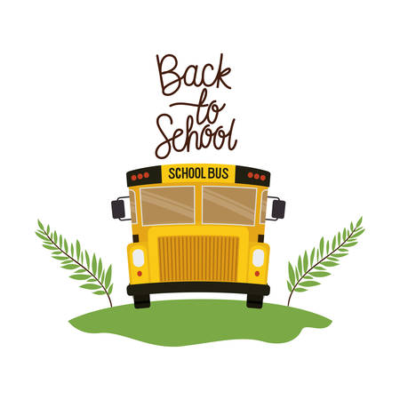 school bus with back to school label vector illustration design