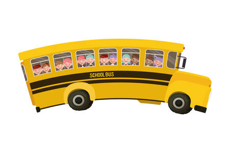 school bus color yellow with students vector illustration design