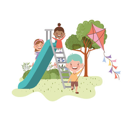 group of baby in park of play with slide vector illustration design