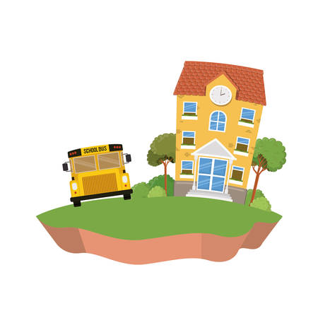 school building of primary with bus in landscape vector illustration design
