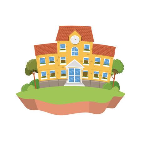 schoolgebouw van primair met landschaps vectorillustratieontwerp Vector Illustratie