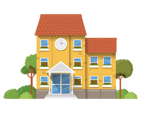 school building of primary with landscape vector illustration design