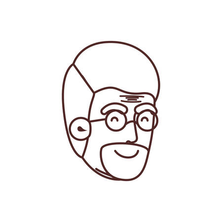 head of grandfather avatar character vector illustration design 向量圖像