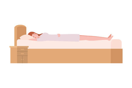 young woman in bed with sleeping pose vector illustration design