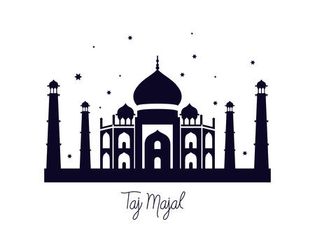 taj majal and indian independence day vector illustration design