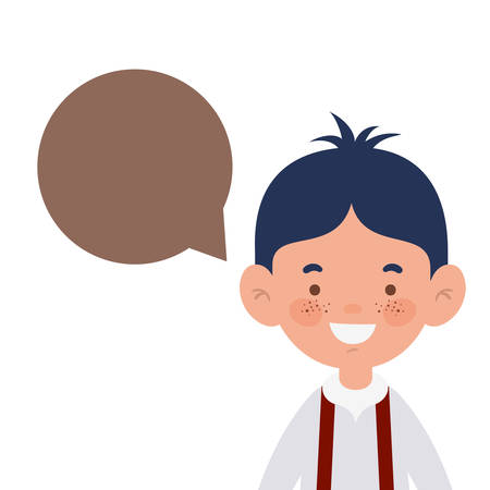 student boy smiling with speech bubble vector illustration design