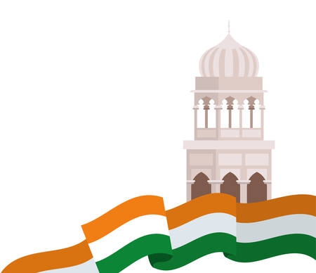 celebration of Indian independence day with flag vector illustration design 写真素材 - 128882837