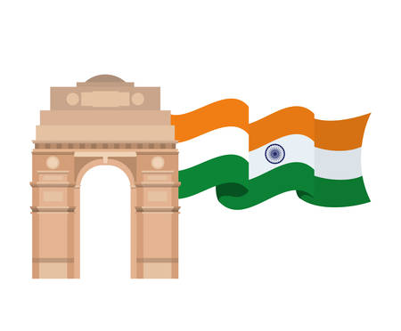 celebration of Indian independence day with flag vector illustration design Illustration