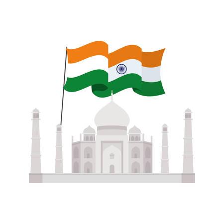 celebration of Indian independence day with flag vector illustration design Ilustrace