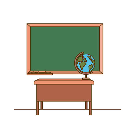 chalkboard of school in classroom vector illustration design