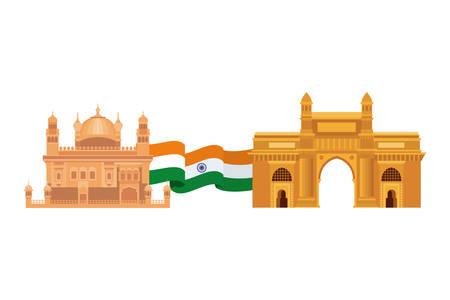 celebration of Indian independence day with flag vector illustration design Ilustração