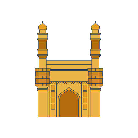 edification of mosque charminar and Indian independence day vector illustration design