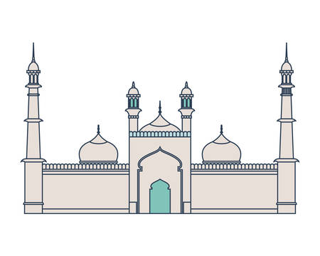 edification of islamic mosque jama masjid and Indian independence day vector illustration design Illustration