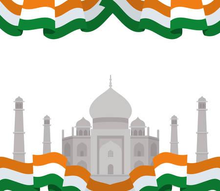 celebration of Indian independence day with flag vector illustration design 写真素材 - 128882886