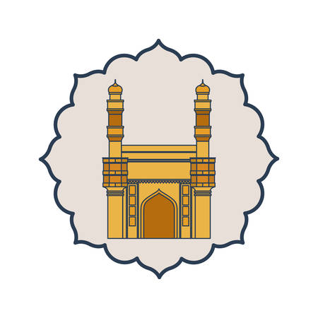 edification of mosque charminar and Indian independence day vector illustration design 写真素材 - 128882991