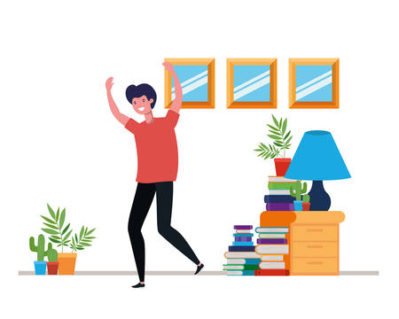young man dancing in living room character vector illustration design Vettoriali
