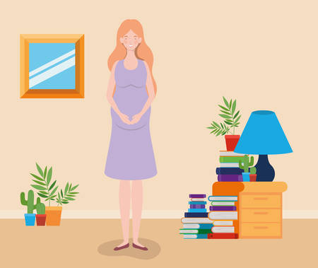 pregnancy woman in house place scene vector illustration design