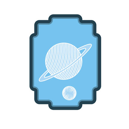 frame with planet of the solar system vector illustration design