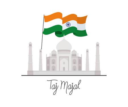 taj majal with india flag vector illustration design