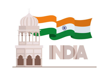 indian mosque temple with flag vector illustration design