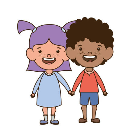 couple standing smiling on white background vector illustration design