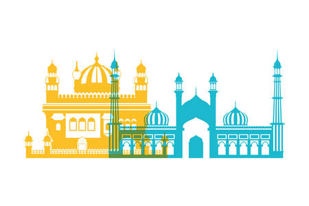 celebration of independence day and tourist buildings of india vector illustration design