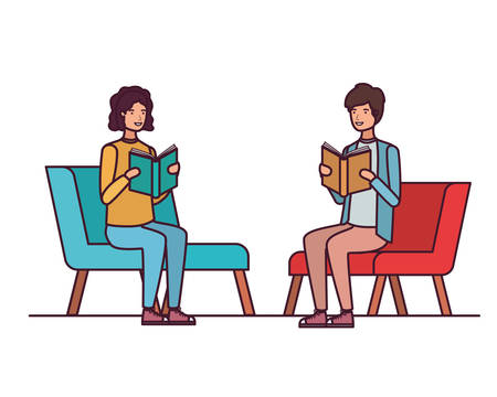 couple sitting on chair with book in hands vector illustration design