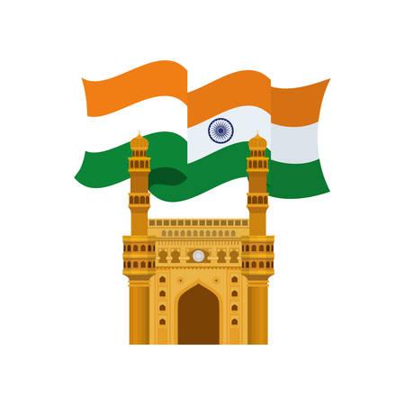 celebration of Indian independence day with flag vector illustration design 写真素材 - 128883803