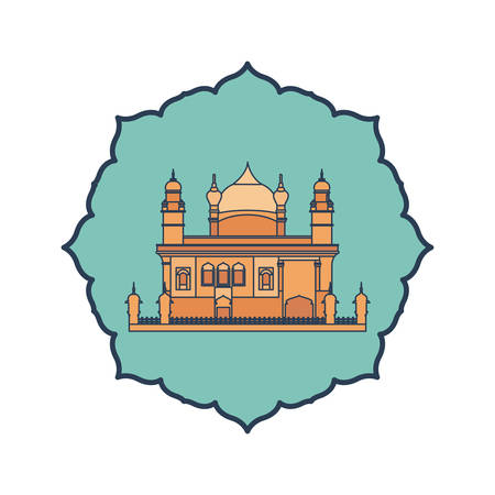 edification of amritsar golden temple and indian independence day vector illustration design