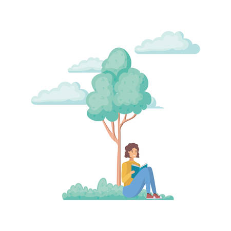 man sitting with book in landscape with trees and plants vector illustration design