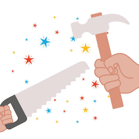 hand with saw and hammer isolated icon vector illustration design