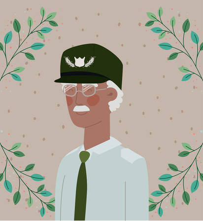 afro veteran military celebration card with leafs vector illustration design Ilustração