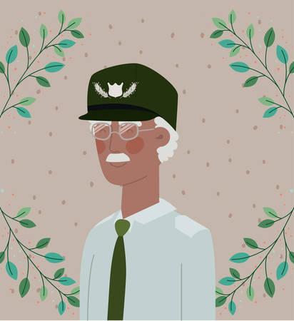 afro veteran military celebration card with leafs vector illustration design Illustration