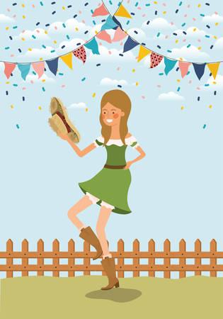 female farmer celebrating with garlands and fence vector illustration design