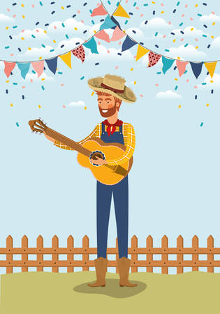 young farmer playing guitar with garlands and fence vector illustration design Banque d'images - 127609239