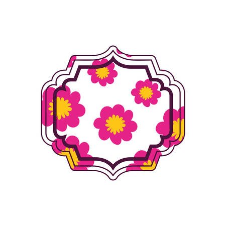 elegant frame with flowers and leafs icon vector illustration design Stock Vector - 128882963