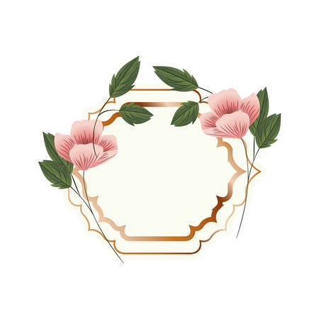 frame with flower and leafs isolated icon vector illustration design