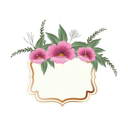 frame with flower and leafs isolated icon vector illustration design Stock Vector - 128884664