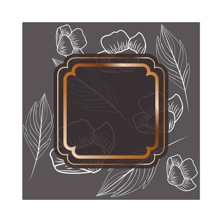 frame with flowers and leafs isolated icon vector illustration design Stock Vector - 128884785