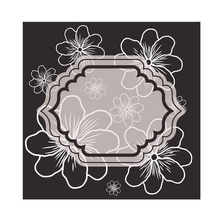 frame with flowers isolated icon vector illustration design Illustration