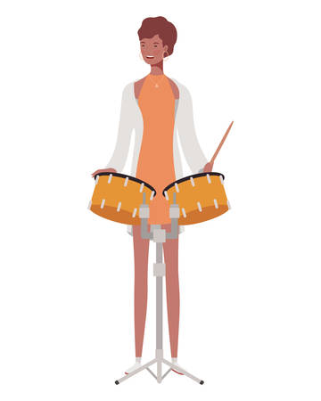 young woman with timpani on white background vector illustration design Stock Illustratie